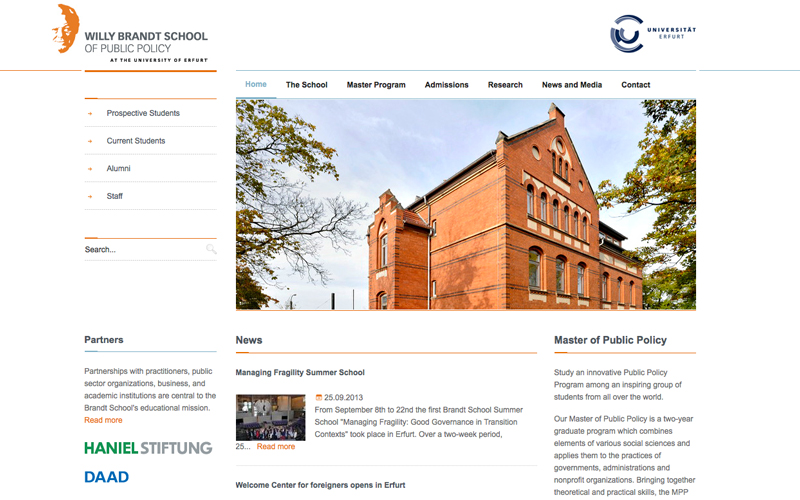 TYPO3 Projektbeispiel - Website Willy Brandt School of Public Policy